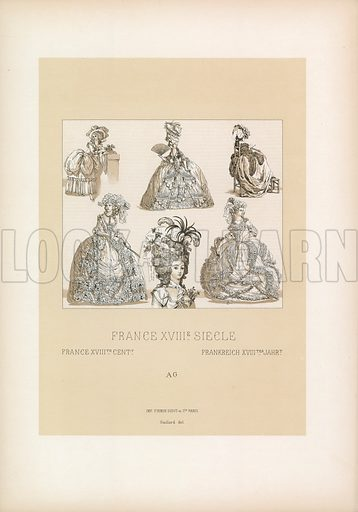 France XVIIIth Cent Costume. Illustration for Le Costume Historique by M A Racinet (Firmin Didot, 1888). High definition scan from special unbound folio edition.