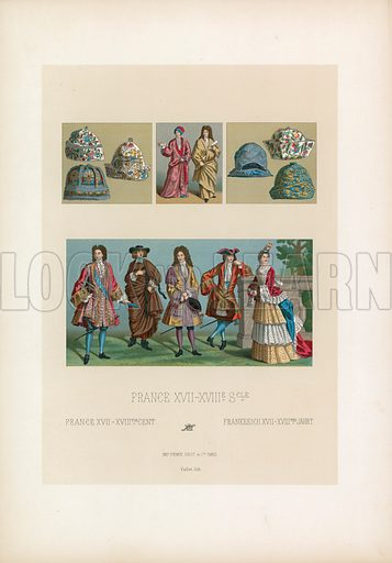 France XVII-XVIIIth Cent Costume. Illustration for Le Costume Historique by M A Racinet (Firmin Didot, 1888). High definition scan from special unbound folio edition.