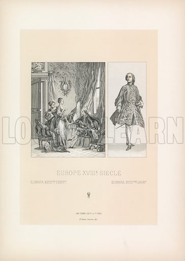 Europe XVIIIth Cent Costume. Illustration for Le Costume Historique by M A Racinet (Firmin Didot, 1888). High definition scan from special unbound folio edition.
