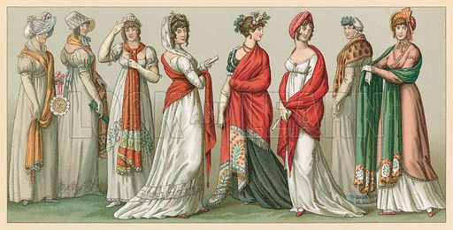France XVIIIth-XIXth Cent Costume. Illustration for Le Costume Historique by M A Racinet (Firmin Didot, 1888). High definition scan from special unbound folio edition.