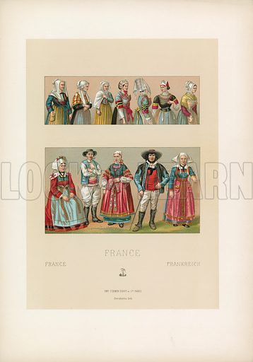 France Costume. Illustration for Le Costume Historique by M A Racinet (Firmin Didot, 1888). High definition scan from special unbound folio edition.