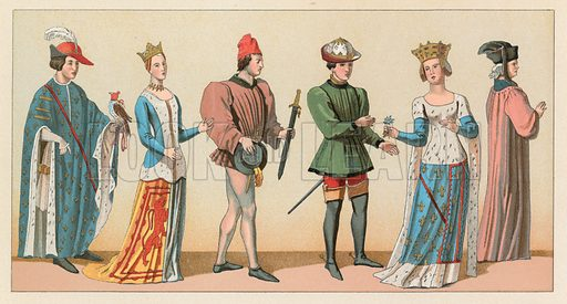 Europe Middle Ages Costume. Illustration for Le Costume Historique by M A Racinet (Firmin Didot, 1888). High definition scan from special unbound folio edition.