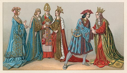 Europe XV-XVIth Cent Costume. Illustration for Le Costume Historique by M A Racinet (Firmin Didot, 1888). High definition scan from special unbound folio edition.