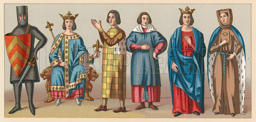 Middle Ages Costume. Illustration for Le Costume Historique by M A Racinet (Firmin Didot, 1888). High definition scan from special unbound folio edition.