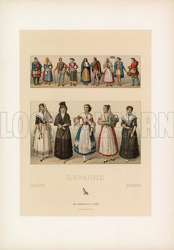 Spain Costume. Illustration for Le Costume Historique by M A Racinet (Firmin Didot, 1888). High definition scan from special unbound folio edition.
