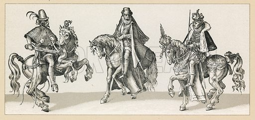 Europe XVIth Cent Costume. Illustration for Le Costume Historique by M A Racinet (Firmin Didot, 1888). High definition scan from special unbound folio edition.