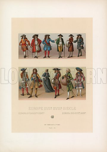 Europe XVII-XVIIIth Cent Costume. Illustration for Le Costume Historique by M A Racinet (Firmin Didot, 1888). High definition scan from special unbound folio edition.