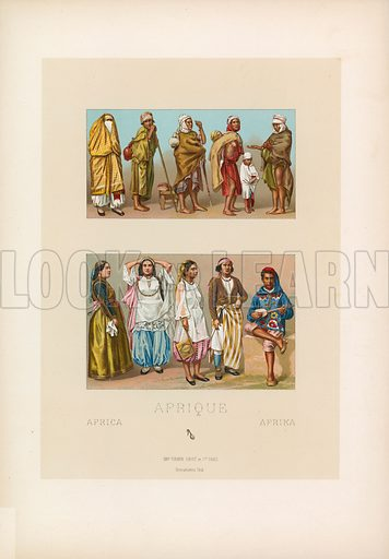 Africa Costume. Illustration for Le Costume Historique by M A Racinet (Firmin Didot, 1888). High definition scan from special unbound folio edition.