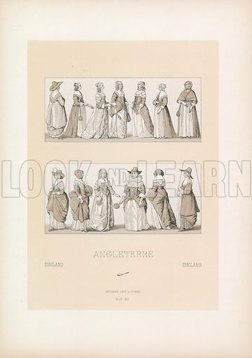 England Costume. Illustration for Le Costume Historique by M A Racinet (Firmin Didot, 1888). High definition scan from special unbound folio edition.