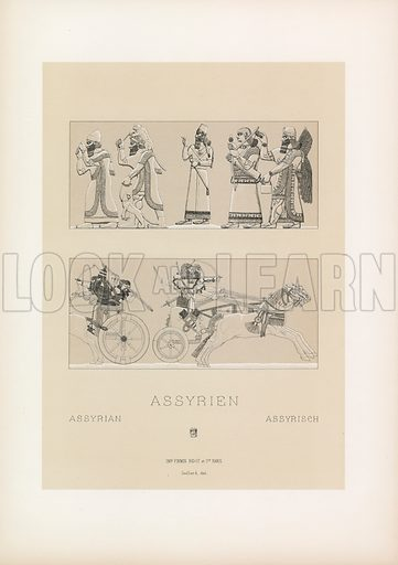 Assyrian Costume. Illustration for Le Costume Historique by M A Racinet (Firmin Didot, 1888). High definition scan from special unbound folio edition.