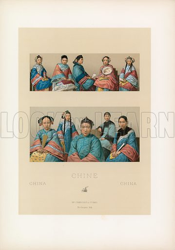 China Costume. Illustration for Le Costume Historique by M A Racinet (Firmin Didot, 1888). High definition scan from special unbound folio edition.