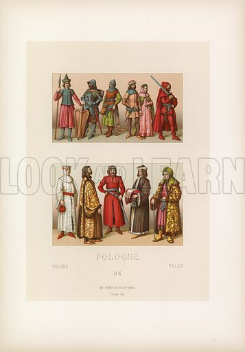Poland Costume. Illustration for Le Costume Historique by MA Racinet (Firmin Didot, 1888). High definition scan from special unbound folio edition.