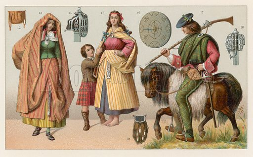 Scotland Costume. Illustration for Le Costume Historique by M A Racinet (Firmin Didot, 1888). High definition scan from special unbound folio edition.