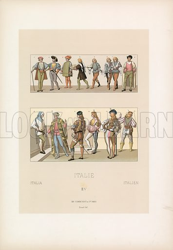 Italy Costume. Illustration for Le Costume Historique by M A Racinet (Firmin Didot, 1888). High definition scan from special unbound folio edition.