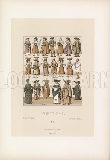 Portugal Costume. Illustration for Le Costume Historique by M A Racinet (Firmin Didot, 1888). High definition scan from special unbound folio edition.