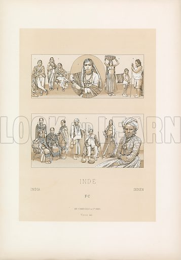 India Costume. Illustration for Le Costume Historique by M A Racinet (Firmin Didot, 1888). High definition scan from special unbound folio edition.
