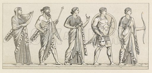 Greek-Roman Costume. Illustration for Le Costume Historique by M A Racinet (Firmin Didot, 1888). High definition scan from special unbound folio edition.