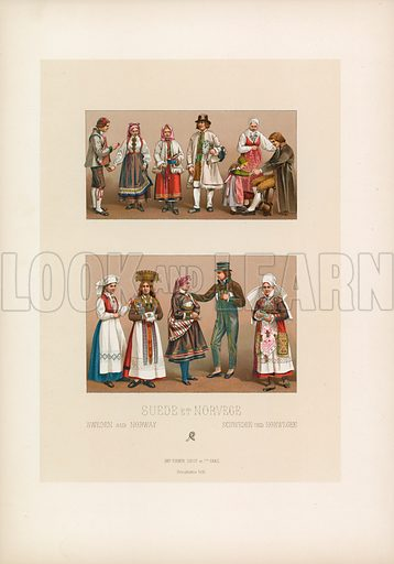 Sweden and Norway Costume. Illustration for Le Costume Historique by M A Racinet (Firmin Didot, 1888). High definition scan from special unbound folio edition.