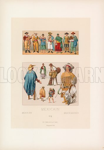 Mexican Costume. Illustration for Le Costume Historique by M A Racinet (Firmin Didot, 1888). High definition scan from special unbound folio edition.