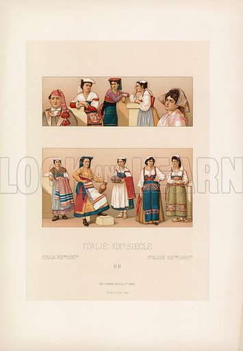 Italy XIXth Cent Costume. Illustration for Le Costume Historique by M A Racinet (Firmin Didot, 1888). High definition scan from special unbound folio edition.