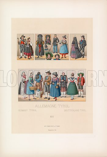 Germany Tyrol Costume. Illustration for Le Costume Historique by M A Racinet (Firmin Didot, 1888). High definition scan from special unbound folio edition.