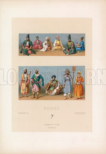 Persia Costume. Illustration for Le Costume Historique by M A Racinet (Firmin Didot, 1888). High definition scan from special unbound folio edition.