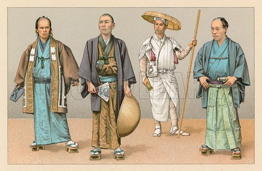 Japan Costume. Illustration for Le Costume Historique by M A Racinet (Firmin Didot, 1888). High definition scan from special unbound folio edition.