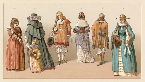 Holland XVIIth Cent Costume. Illustration for Le Costume Historique by M A Racinet (Firmin Didot, 1888). High definition scan from special unbound folio edition.