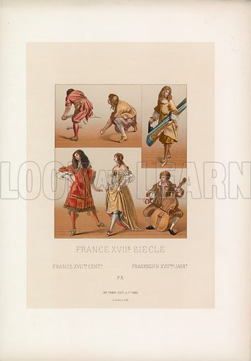 France XVIIth Cent Costume. Illustration for Le Costume Historique by M A Racinet (Firmin Didot, 1888). High definition scan from special unbound folio edition.