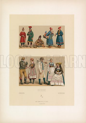 Sweden Costume. Illustration for Le Costume Historique by M A Racinet (Firmin Didot, 1888). High definition scan from special unbound folio edition.
