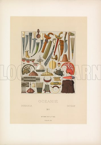 Oceania Costume. Illustration for Le Costume Historique by M A Racinet (Firmin Didot, 1888). High definition scan from special unbound folio edition.
