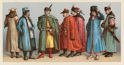 Poland Costume. Illustration for Le Costume Historique by M A Racinet (Firmin Didot, 1888). High definition scan from special unbound folio edition.