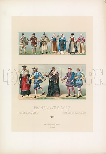 France XVIth Cent Costume. Illustration for Le Costume Historique by M A Racinet (Firmin Didot, 1888). High definition scan from special unbound folio edition.