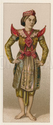 Asia Costume. Illustration for Le Costume Historique by M A Racinet (Firmin Didot, 1888). High definition scan from special unbound folio edition.