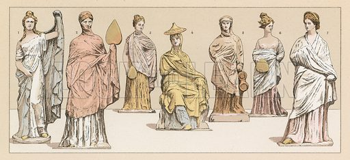 Greece Costume. Illustration for Le Costume Historique by M A Racinet (Firmin Didot, 1888). High definition scan from special unbound folio edition.