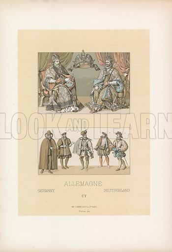Germany Costume. Illustration for Le Costume Historique by M A Racinet (Firmin Didot, 1888). High definition scan from special unbound folio edition.