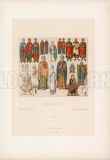 Byzantine Costume. Illustration for Le Costume Historique by M A Racinet (Firmin Didot, 1888). High definition scan from special unbound folio edition.