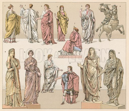 Roman Costume. Illustration for Le Costume Historique by M A Racinet (Firmin Didot, 1888). High definition scan from special unbound folio edition.