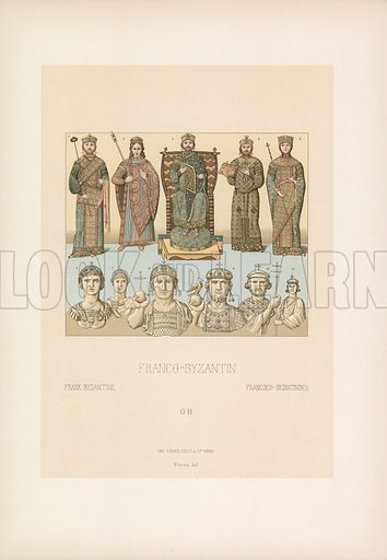 Frank Byzantine Costume. Illustration for Le Costume Historique by M A Racinet (Firmin Didot, 1888). High definition scan from special unbound folio edition.