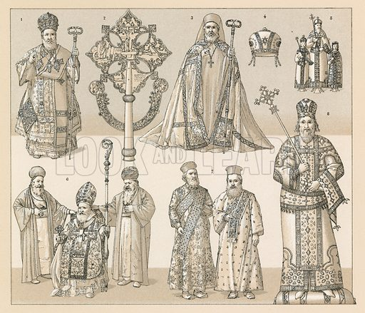 Byzantine and Abyssinian Costume. Illustration for Le Costume Historique by M A Racinet (Firmin Didot, 1888). High definition scan from special unbound folio edition.
