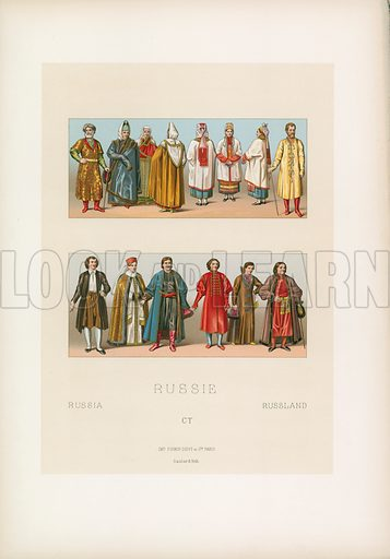 Russia Costume. Illustration for Le Costume Historique by M A Racinet (Firmin Didot, 1888). High definition scan from special unbound folio edition.