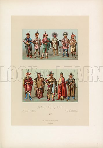 America Costume. Illustration for Le Costume Historique by M A Racinet (Firmin Didot, 1888). High definition scan from special unbound folio edition.