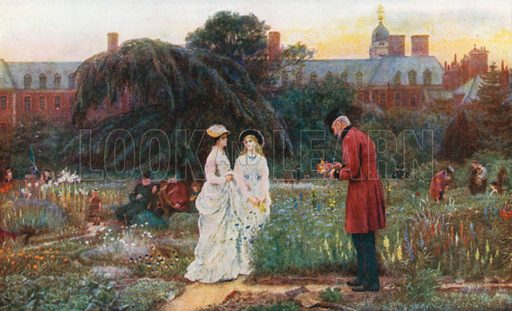 The Old Men's Gardens, Chelsea Hospital. Illustration for Happy England by Marcus B Huish (A & C Black, 1909).