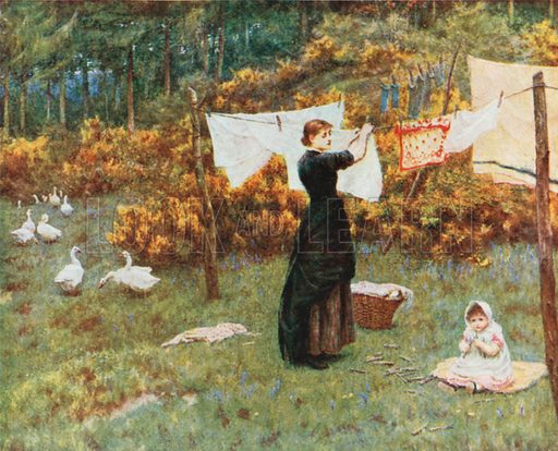 The Clothes-Line. Illustration for Happy England by Marcus B Huish (A & C Black, 1909).