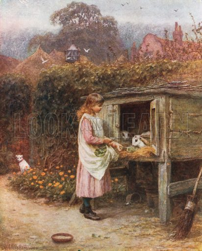 The Rabbit Hutch. Illustration for Happy England by Marcus B Huish (A & C Black, 1909).