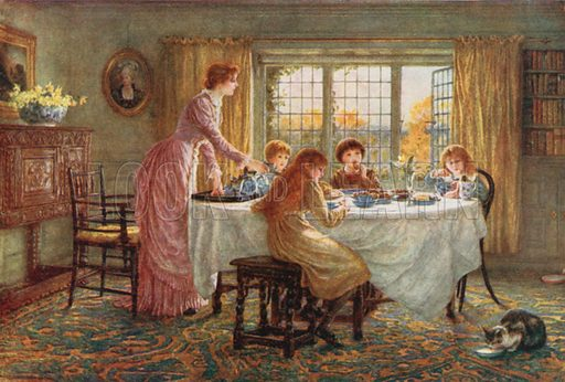 The Children's Tea. Illustration for Happy England by Marcus B Huish (A & C Black, 1909).