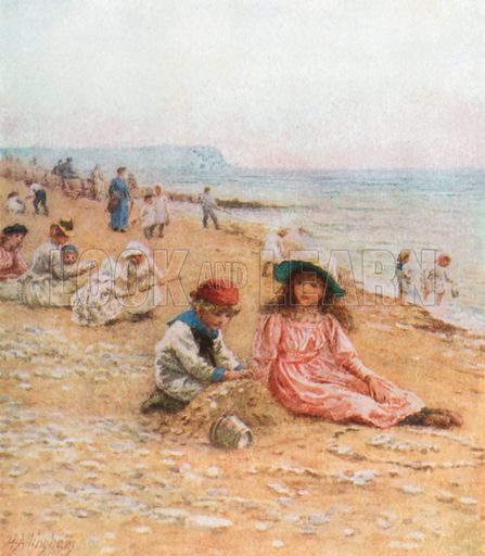On the Sands--Sandown, Isle of Wight. Illustration for Happy England by Marcus B Huish (A & C Black, 1909).