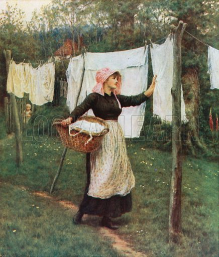 Drying Clothes. Illustration for Happy England by Marcus B Huish (A & C Black, 1909).