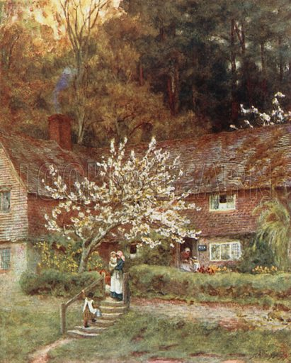 Cherry-Tree Cottage, Chiddingfold. Illustration for Happy England by Marcus B Huish (A & C Black, 1909).