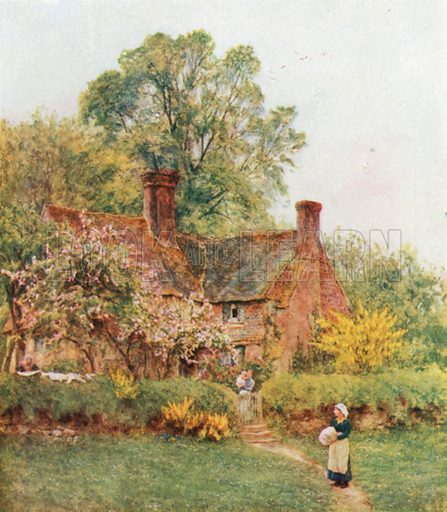 Cottage at Chiddingfold. Illustration for Happy England by Marcus B Huish (A & C Black, 1909).